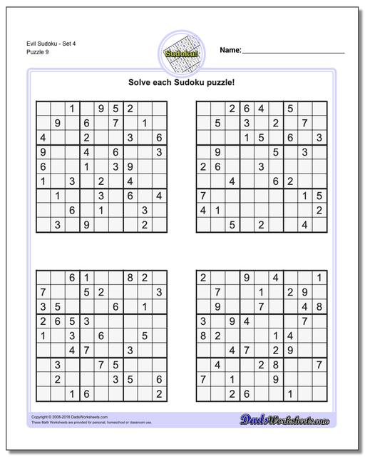 Web Sudoku Evil Printable
