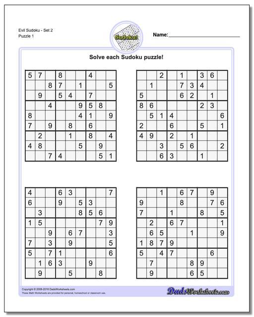 Sudoku Evil Printable