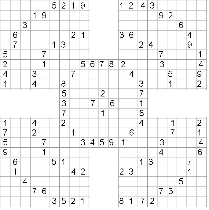 High Five Sudoku Puzzles Printables