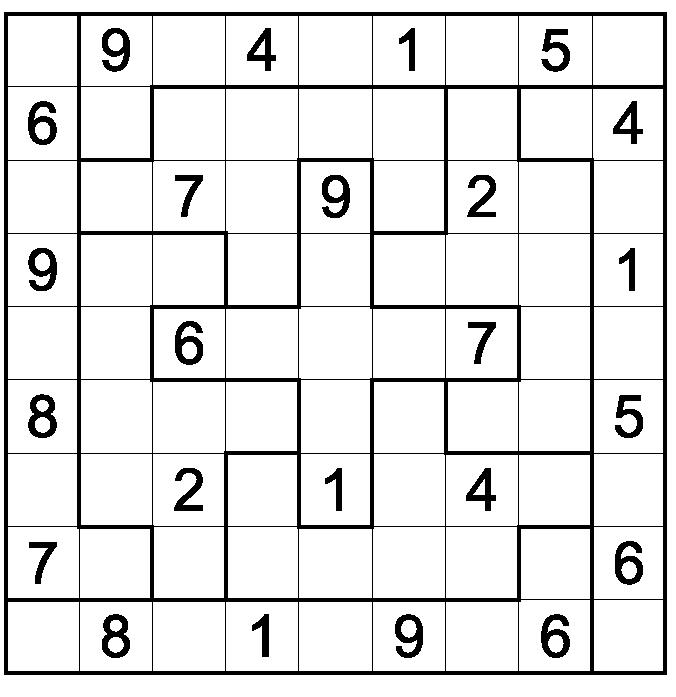 Free Printable Irregular Sudoku Puzzles