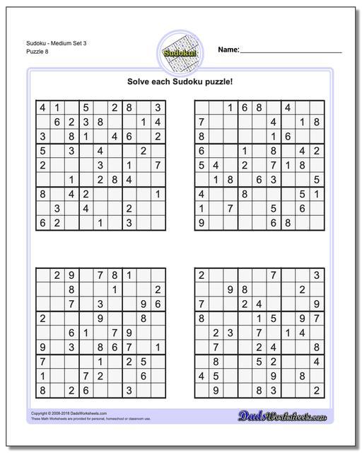 Sudoku Medium Difficulty Printable