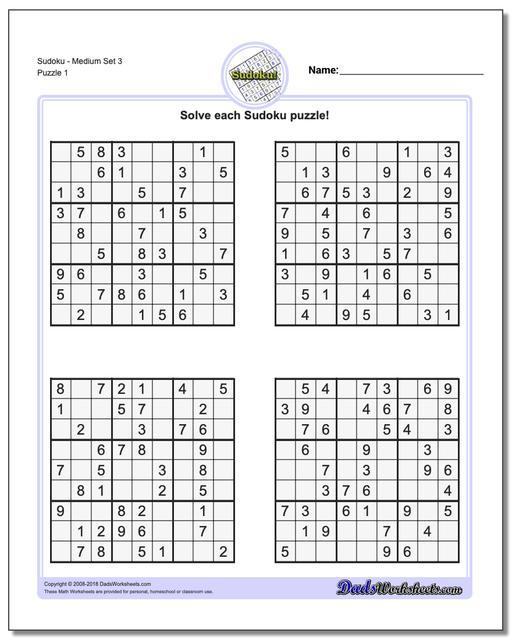 Medium Difficulty Sudoku Printable