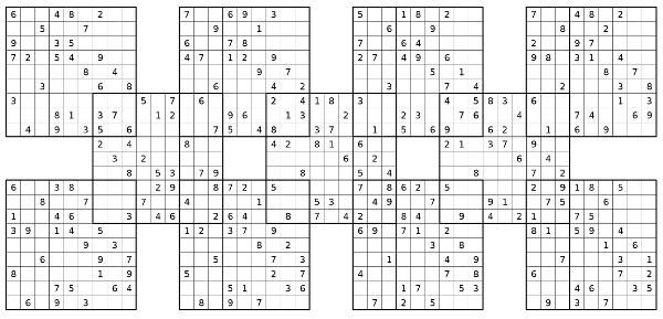 Printable 13 Grid Samurai Sudoku
