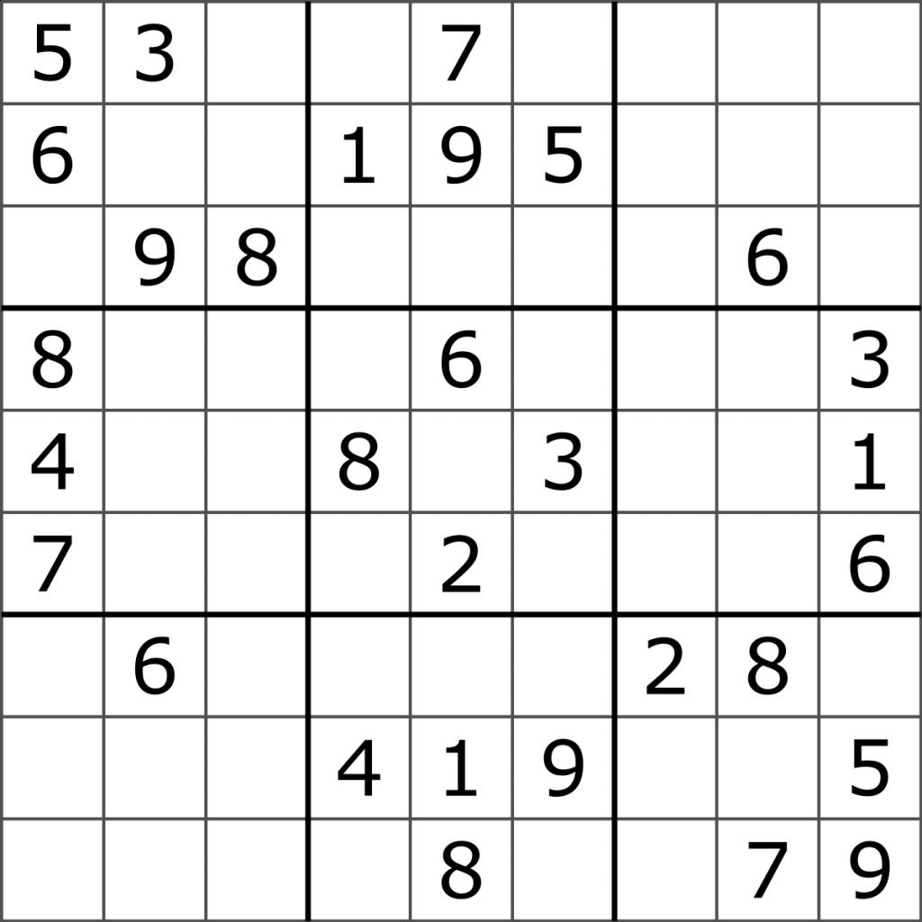 Sudoku Wikipedia Printable Sudoku Level 1 Printable