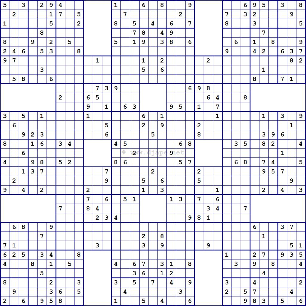Super Samurai Sudoku 13 Grids Printable Sudoku Variation