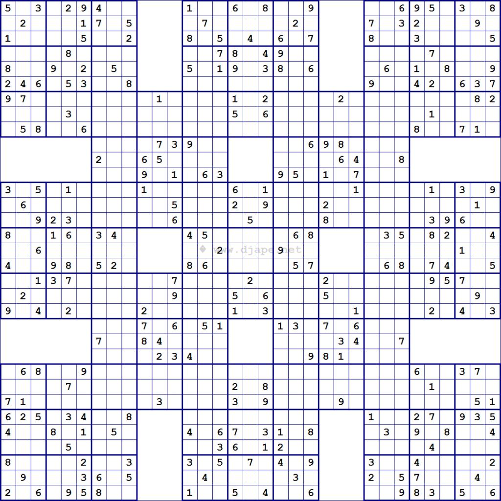 Super Samurai Sudoku 13 Grids Sudoku Printable