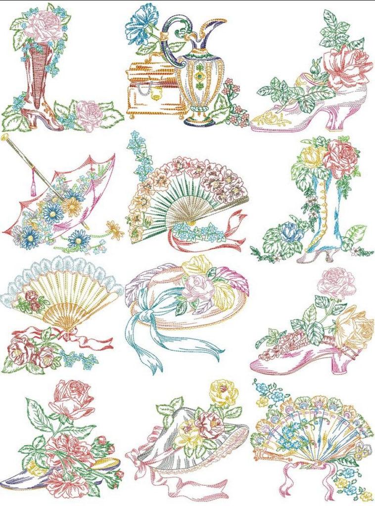 Victorian Ladies Accessories Machine Embroidery Designs