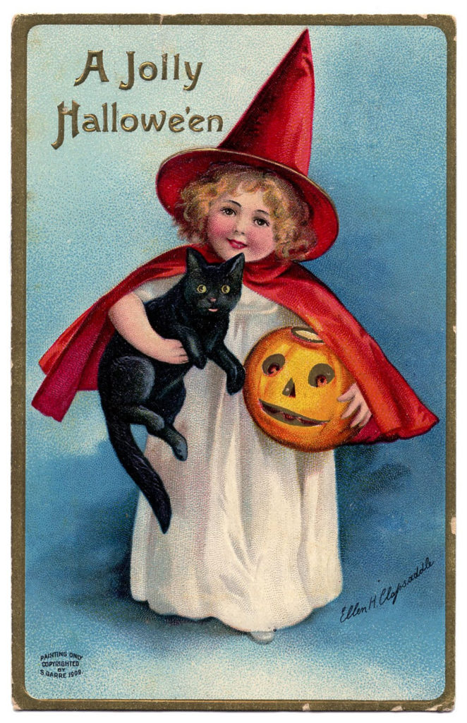 Vintage Halloween Clip Art Darling Little Witch Girl